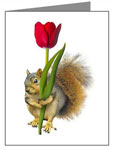 squirrel with red tulip card