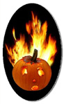 flaming jack-o-lantern sticker from CafePress