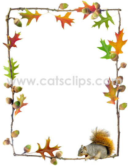 Oak leaves, acorns and squirrel border from www.catsclips.com.