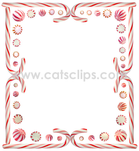 Peppermint candy and candy canes in a holiday border from www.catsclips.com.